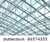 contemporary roof, steel structure - stock photo