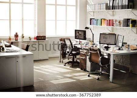 Contemporary Room Workplace Office Supplies Concept - stock photo