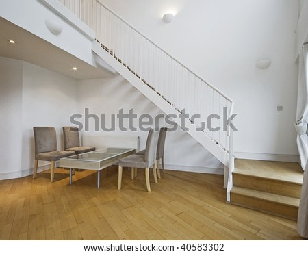 contemporary staircase of a duplex penthouse apartment - stock photo