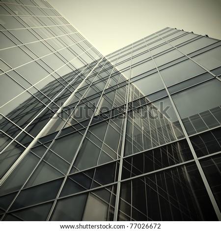 contemporary striped black texture glass architecture - stock photo