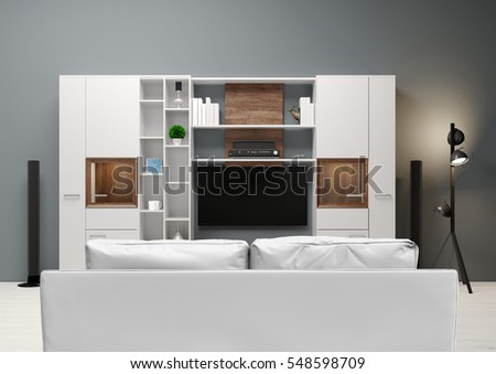 Contemporary style, home audio system with TV and shelves in the living room .Sofa and Wood furniture with decorative panels. 3D illustration