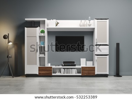 Contemporary style, home audio system with TV and shelves in the living room . Wood furniture with decorative panels. 3D illustration