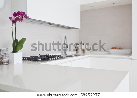contemporary style kitchen - stock photo