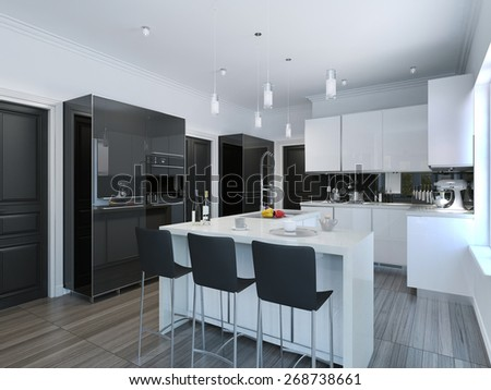 Contemporary style kitchen bar. 3D render