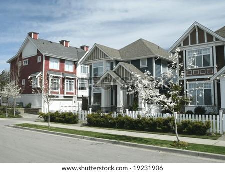 Contemporary Suburban Town Homes - stock photo