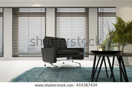 Contemporary Upholstered Chrome Armchair In A Spacious Bright Living Room Interior With Coffee Table