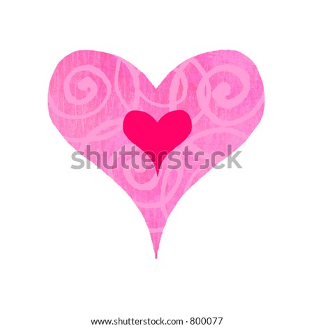 Contemporary valentines illustration of a groovy heart with swirls - stock photo