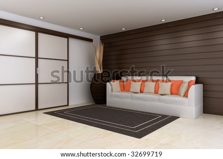 contemporary waiting room, wood wall and slide doors, couch over rug and decoration