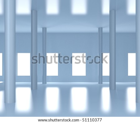 contemporary wide hall  - 3d illustration