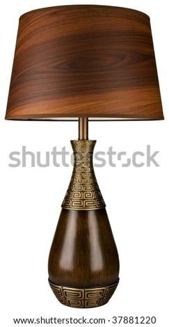 Contemporary Wood and Brass Table Lamp with Wood Grain Lamp Shade