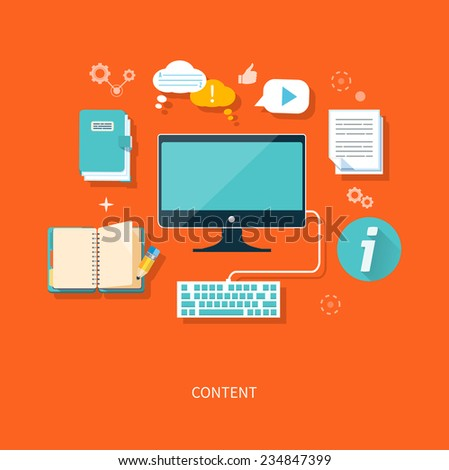 Content concept monitor with keyboard and documents in flat design style. Raster version - stock photo
