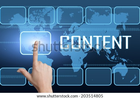 Content concept with interface and world map on blue background - stock photo