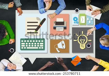 Content Connect Social Media Data Blog Concept - stock photo