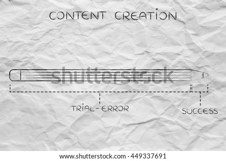 content creation diagram with pencil metaphor, long trial error phase before reaching success - stock photo
