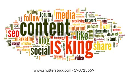 Content is king concept in word tag cloud on white background - stock photo