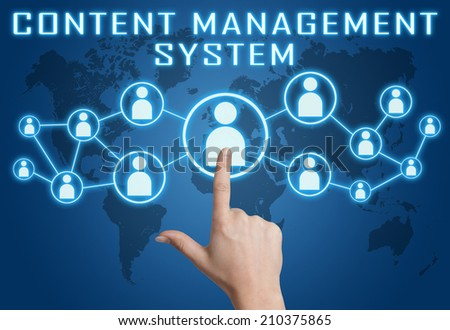 Content Management System concept with hand pressing social icons on blue world map background. - stock photo