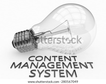 Content Management System - lightbulb on white background with text under it. 3d render illustration. - stock photo