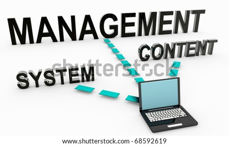 Content Management System on Document in 3D - stock photo
