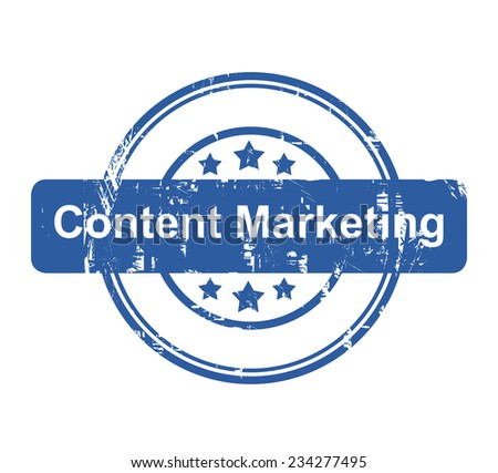 Content Marketing business concept stamp with stars isolated on a white background. - stock photo