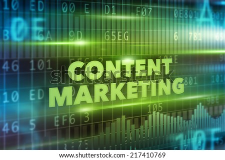 Content marketing concept green background green text - stock photo