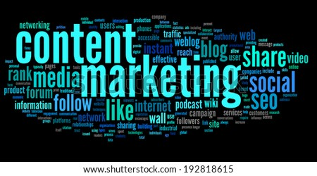 Content marketing concept in word tag cloud on black background - stock photo