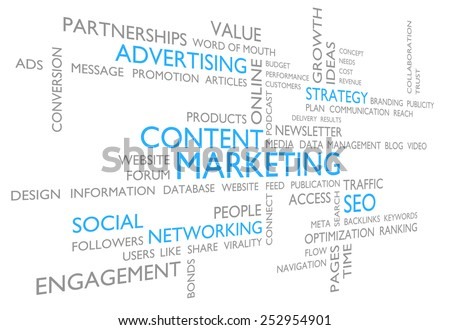 Content marketing through advertising, social networking, and SEO - stock photo