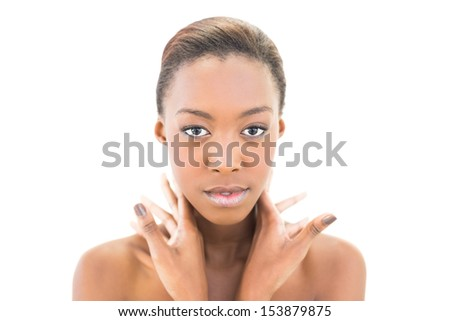 Content natural young beauty posing on white background