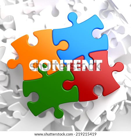 Content on Multicolor Puzzle on White Background. - stock photo