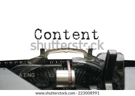 Content on typewriter - stock photo