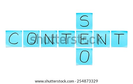 Content SEO crossword made with blue sticky notes on white background. - stock photo