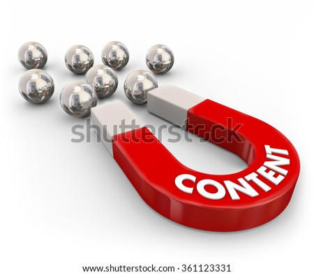 Content word in 3d letters on a red metal magnet to illustrate luring or attracting visitors, readers, customers or audience - stock photo