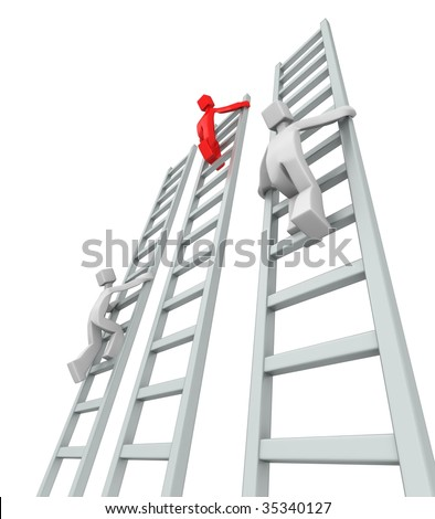 Contestants challenge and climbing ladder to reach the top 3d illustration - stock photo