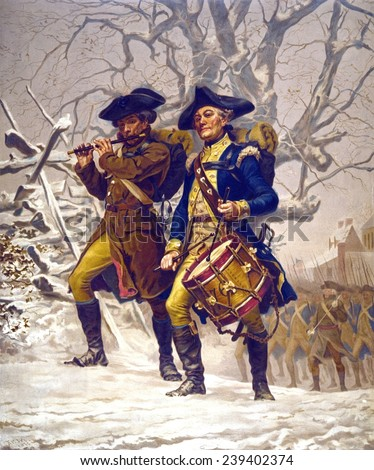 Continental Army color guard, playing fife and drum, marching in winter during the American Revolution, 1776-1783.