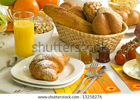 continental breakfast on the table close up shoot - stock photo
