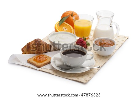 continental breakfast with bread and croissant - stock photo