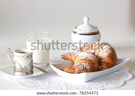 Continental breakfast with coffee, milk and croissants served on a table