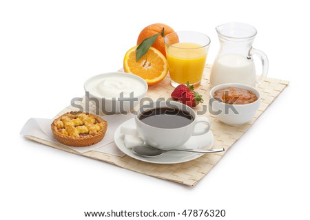 continental breakfast with jam tart and coffee - stock photo