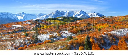 Continental divide in autumn time near Ridge way Colorado - stock photo