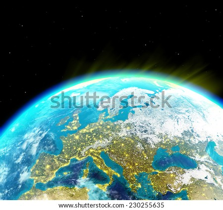 Continental Europe with city lights viewed from outer space - Elements of this image furnished by NASA - stock photo