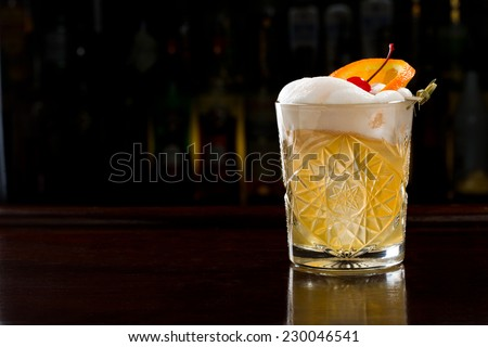 continental sour cocktail - stock photo