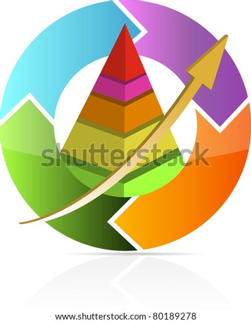 Continuous business move pyramid chart illustration design - stock photo