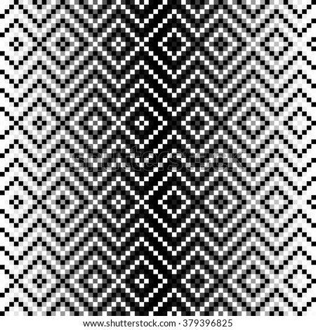 Continuous geometric black and white pattern