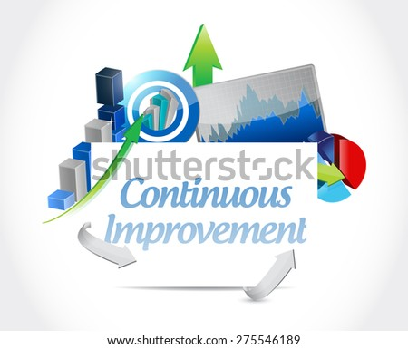 continuous improvement business sign concept illustration design over white background - stock photo