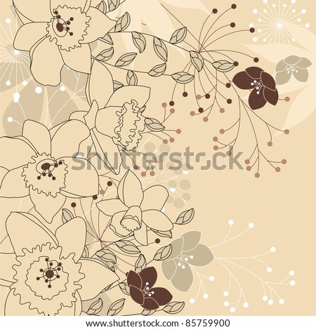 Contour background with daffodils and forest plants. Raster version. - stock photo