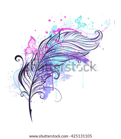 contour feather with drops of bright colors and colorful flying butterflies. Tattoo style. Artistic drawing feather. Hand drawing. Bright paint.  - stock photo