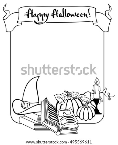 Contour halloween frame with witch hat, magician books and candlestick. Raster clip art.