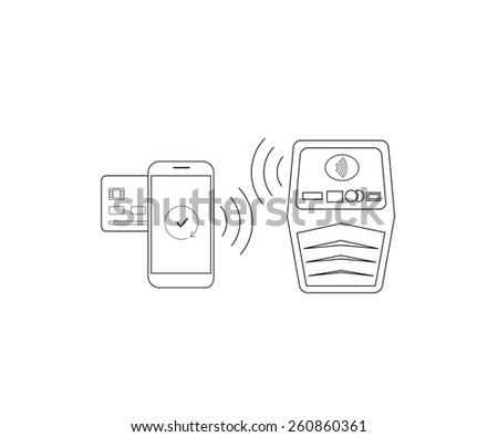 Contour illustrations of payment by smartphone via nfc - stock photo