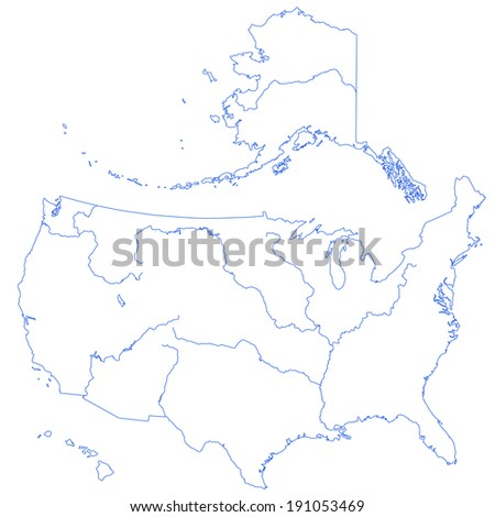 Contour map of the United States with major rivers and lakes.  - stock photo