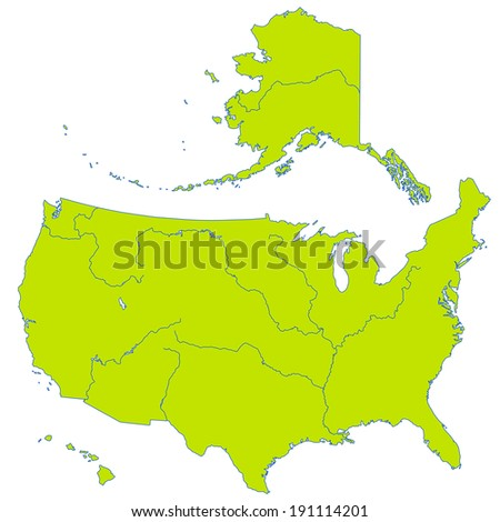 Contour map of the United States with major rivers and lakes  - stock photo