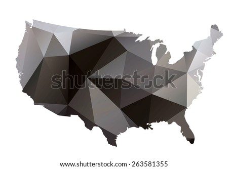 Contour map of the USA. Geometric polygonal design.Raster version. - stock photo